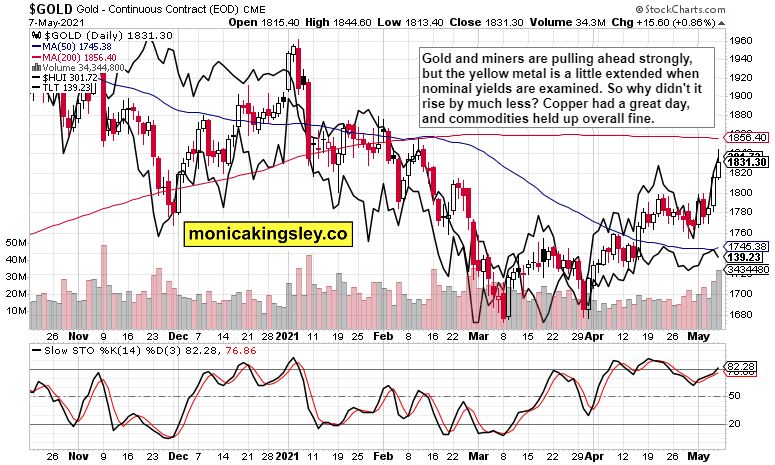 gold, HUI and TLT